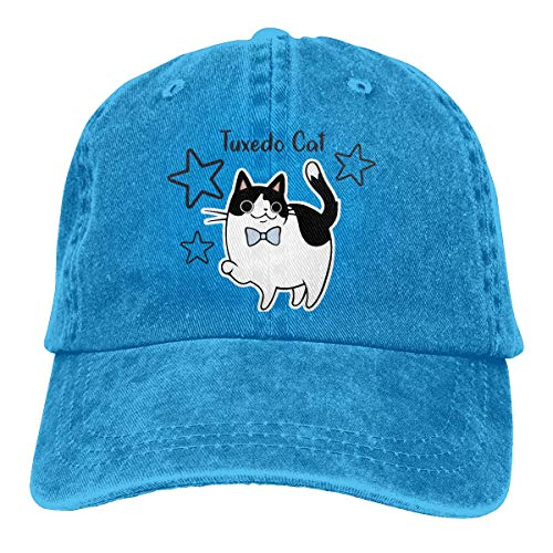 Nifdhkw Tuxedo Cat Unisex Washed Adjustable Vintage Cowboy Hat Denim Baseball Caps Multicolor20 (Cat Tuxedo Kostüm)