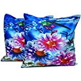 2pcs Multicolor Silk Pillow Covers Floral Digital Print Sofa Cushion Covers