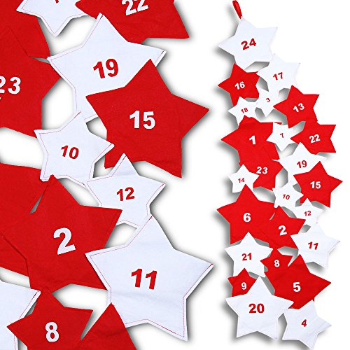 Jago Kalender - Adventskalender aus 24sternförmigen Filz-Beuteln (210cm)