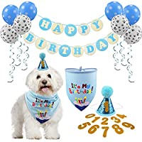 GAGILAND Dog Birthday Bandana Hat with 0-9 Figures Party Supplies Decoration - Banner Balloon Hanging Swirls 1st Birthday Dog Boy Girl (Dog boy, Blue)