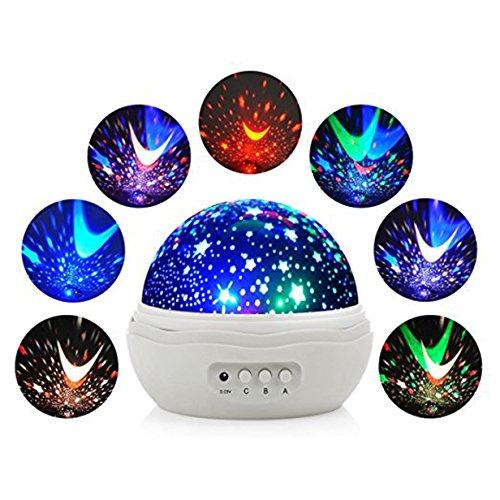 Veilleuse Enfants LED Projecteur Etoiles - Lampe de Projection LED Veilleuse Forme Romantique Rose Avec Moon Stars Cosmos 360 Degrés Rotation Cadeau Bébé Fille Chambre (Blanc)