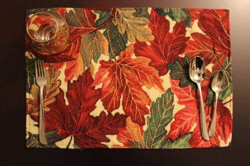 Gold Leaf Teller (Tache's Fall Autumn All Thanksgiving Tischsets Shabby Chic 13 x 19 Thanksgiving Leaves)