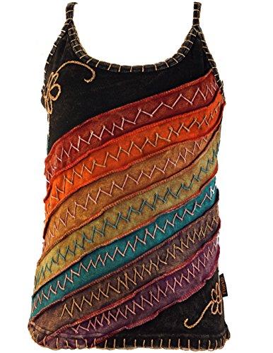 Patchwork-t-shirt Top (Guru-Shop Stonewash Goa Top, Damen, Regenbogen 10, Baumwolle, Size:M/L (40), Tops, T-Shirts, Shirts Alternative Bekleidung)