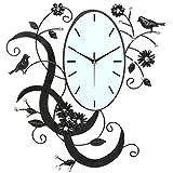 Vögel und Blumen Design Schwarz Metall Analog Wanduhr/Wand montiert Dekoratives mit Strass