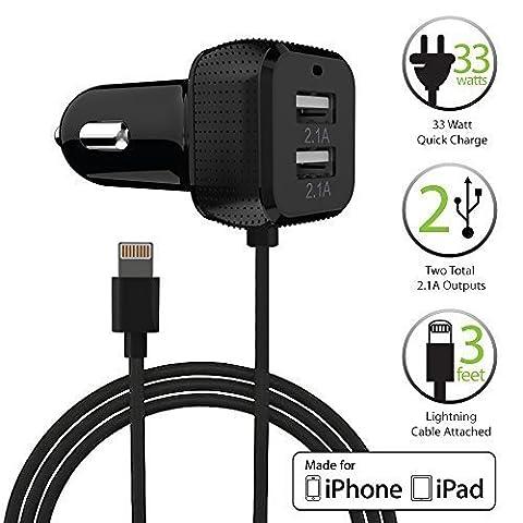 [Apple MFI Certifié] Chargeur Voiture, FosPower 33W Chargeur Allume Cigare USB, Double Ports USB Avec Câble Lightning Certifié pour Apple iPhone 7 / 6s / 6s Plus / 5S / SE