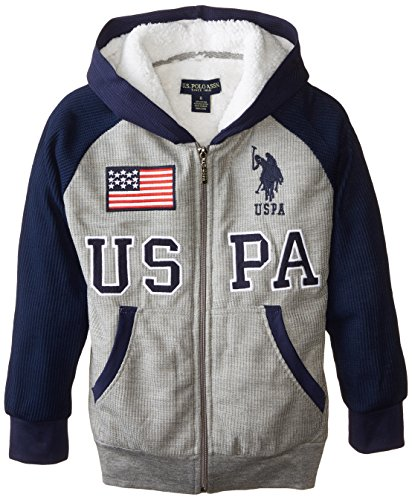 U.S. Polo Assn. Big Boys' Sherpa Lined Thermal Hoodie, Medium Gray, 14/16 (Thermal Sweatshirt Sherpa)