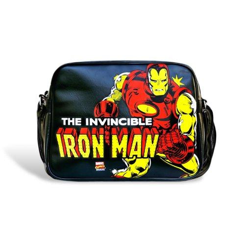 Iron Man Tasche Marvel Umhängtasche, Comic Bag, großes Motiv, 37 x 27 x 9 - Shirt Vintage Spiderman