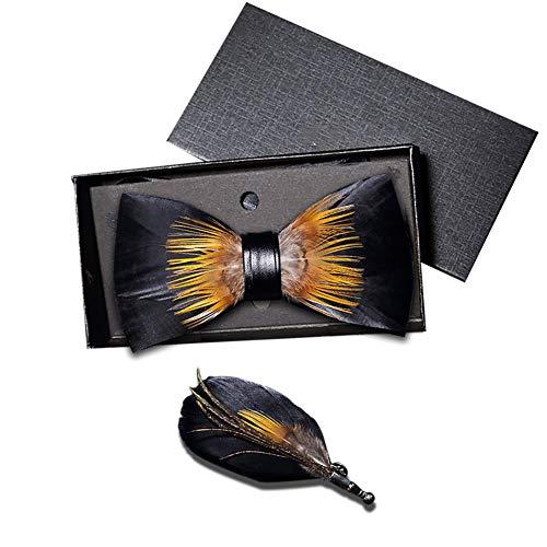 zhxinashu Elegante Männer Hochzeit Fliege - Bräutigam Boutonniere Feather Exquisite Brosche Set(Schwarz) -