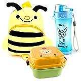 Lantelme 5992 Kinder Rucksack Biene - Brotdose und Trinkflasche im Set für Kindergarten - Kinderkrippen und auf Reisen