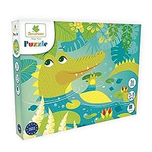 DARPEJE- Cocodrilo-36 Piezas de Puzzles-Sycomore Faujas (PUZ002), (1)