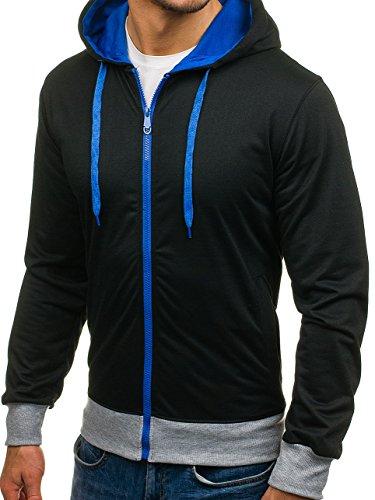 BOLF Herren Kapuzenpullover mit Reißverschluss Sweatjacke Hoodie Pullover Classic 1A1 Schwarz