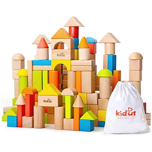 KAJA 80 Pcs Classic Natural and Color Wooden Building Blocks Sets for Toddlers Educational Preschool Learning Blocks Toys with Carrying Bag