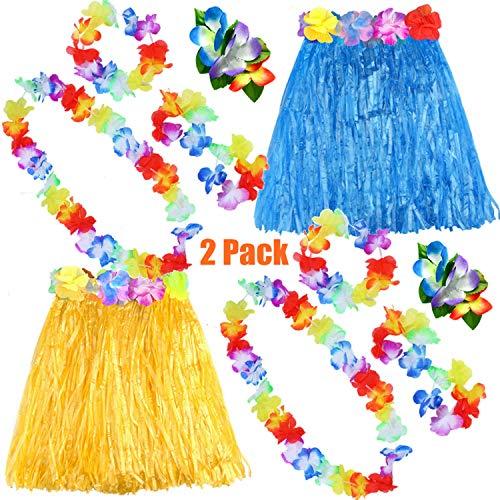 FEPITO 2 Set Hawaiian Gras Hula Rock mit Blume Leis Halskette Stirnband Armbänder Kleid Kostüm Set für Mädchen Frau Luau Hawaiian Dance Rock Party - Dance Direct Kostüm