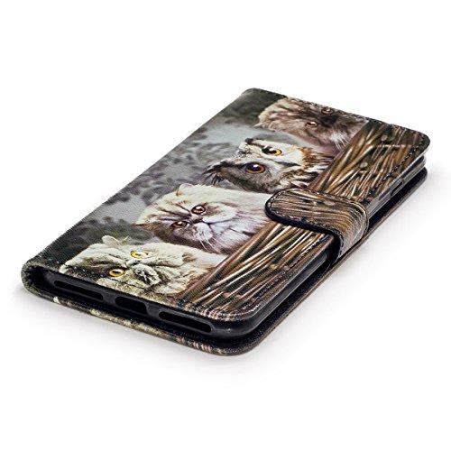 EUWLY Case Cover per iPhone 7 Plus (5.5),Ultra Slim Sottile Custodia Protettiva Portafoglio pelle PU Case Lusso Flip Stand Slot Funzione di Supporto Leather Wallet Case per iPhone 7 Plus (5.5)-Gatti Gatto Scadente