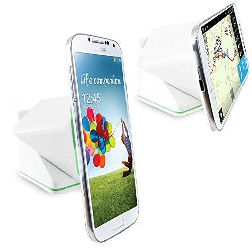 Orzly® - SmartPhone / SatNav SUPER CUBE STICKY HOLDER - Einzigartige Sticky Mechanism, die sie entweder mit oder ohne Gehäuse verwendet werden kann - Kompatibel für den Einsatz auf entweder Armaturenbrett / Windschutzscheibe / Schreibtisch / Tabelle / usw. - Multidirektionale Swivel - WEIß - Swivel Mount Dock