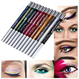 LHWY 12 Colors Eyebrow Glitter Shadow Lip EyeLiner Pencil Pen Cosmetic Makeup Set Kit