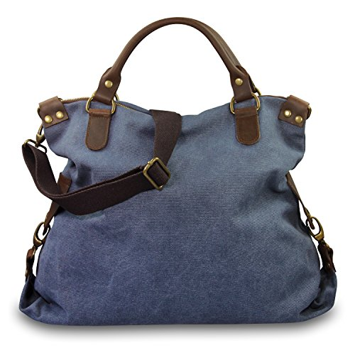 IO.IO.MIO. Italia grande Shopper Pelle Tela Mix Stelle Colore A Scelta , 40x35x15 cm (B x H x T) Blu (blu)