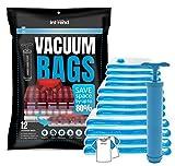 int!rend 33 XXL Vacuum Storage Bags | 12 Sacchetti salvaspazio riutilizzabili | 3 Misure incl. 20 Blocchi Note e Pompa a Mano | Stivaggio dei Vestiti, Cuscini, lenzuole e Biancheria