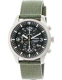 Seiko SNDA27P1 - Reloj cronógrafo de caballero de cuarzo con correa textil verde - sumergible a 100 metros