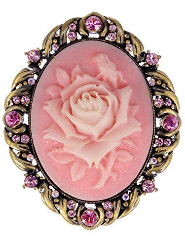 Alilang Damen Vintage Gold Antike Strass Rose Rosa Kristall Blumen Miniatur Brosche (Brosche Alilang Kristall)