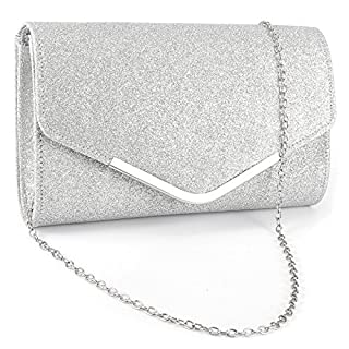Ladies Envelope Clutch Bag Evening Bag Bridal Wedding Bag Handbag Prom Bag (Silver)