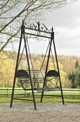 CLP 2 Sitzer / 3 Sitzer Garten Hollywoodschaukel AIMEE, Landhaus-Stil, Metall (Eisen) bronze - 2