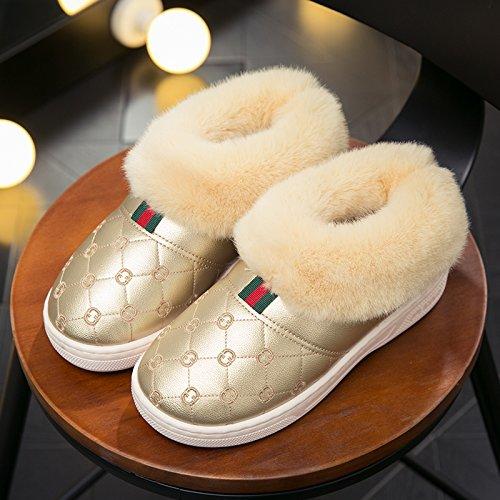 DogHaccd pantofole,Il cotone pantofole inverno femmina di spessore, antiscivolo pacchetto indoor thermal giovane con un soggiorno negli uomini PU pelliccia cotone felpato mop L'Oro2