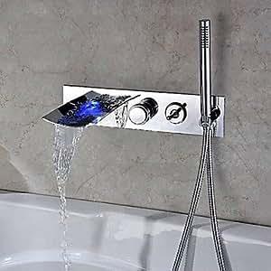 Charmingwater chrome contemporain conduit changement de couleur cascade baignoire robinet avec douchette à main (montage mural)