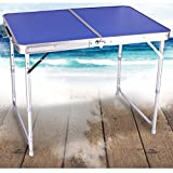 ALK Aluminum Portable Folding Camping Picnic Table Party Kitchen Outdoor Garden BBQ (Blue)