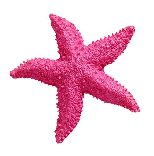 (2 Stück Künstlich Seesterne Heim Deko Badezimmer Mittelmeer Fisch Tank Landschaft Ornamente Aquarium zum Dekorieren & Basteln DIY Pink 8cm)