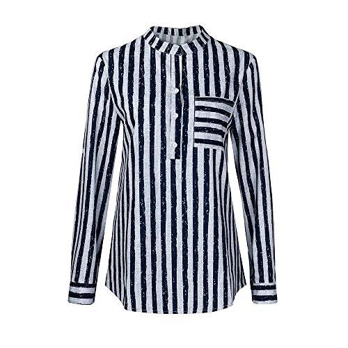 (MYMYG Damen Bluse V-Ausschnitt Locker Hemd Blusenshirt Lose Casual Langarm Tunika Oversize Oberteile Große Größen S-5XL(E1-Dunkelblau,EU:50/CN-4XL))