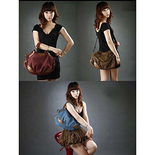 Panegy Damen Fashion Handtasche Frauen Mode Einfarbig Canvas Schultertasche Casual Einfachen Stil Tasche Für Büro Freizeit Outdoor und Reisen - Lilarot Blau