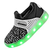 Shinmax New-Released Spring-Summer-Autumn Breathable 7 Colors LED Shoes USB Rechargable Kid shoes Led Sneakers with CE Certificate for Halloween Christmas Thanks Giving Day (28 EU, Black)