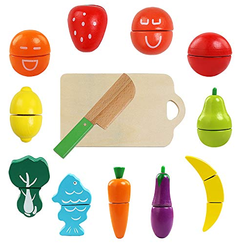 51YL5R4FlAL - BelleStyle Juguetes Cortar Frutas Verduras de Madera, Gastronomia Saludable, Sin Toxico Juguetes Educativos para 3+ Nino (Magic Stickers)