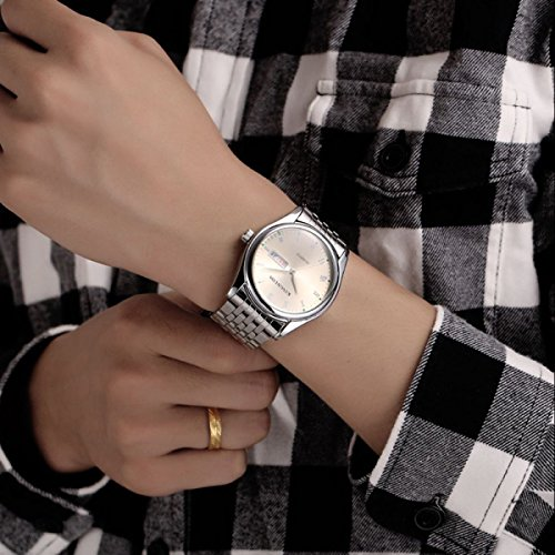 SNHWARE Männer Und Frauen Paare Uhr-Mode-Roman Digital-Lichtwasserdichte Stahluhr,White-Men