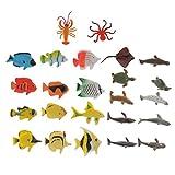 FLAMEER 24x Meerestier Modell inkl. Seelöwen Pinguin Delfine Haie Wale Mantarochen Robben Schildkröten Hummer und Winkelfische