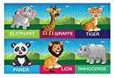 #1: Pola Puzzles Funny Wild Animals Tiling Puzzles 9 Pieces X 6 Puzzles for Kids Age 3 Years and Above Multi Color Size 11.2CM X 11.2CM Jigsaw Puzzles for Kids