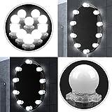 Tobbiheim LED Spiegelleuchte Hollywood Stil 10 Dimmbare LED Kugellampe Kit 6000 Kelvin Kaltweiß Beleuchtung mit 12V Netzteil für Kosmetikspiegel, Schminktisch Spiegel, Badzimmer Spiegel