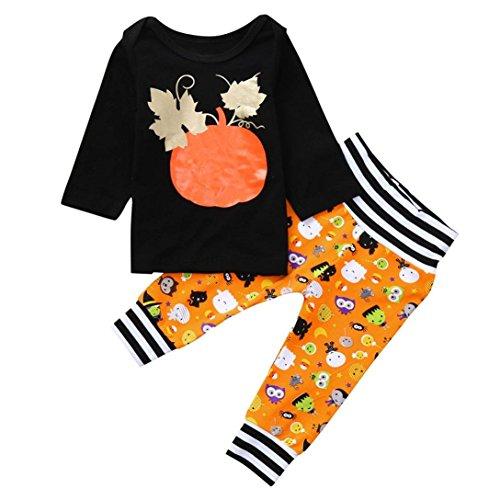 ween Kostüm Outfits Mädchen Jungen Lange Ärmel Kürbis Drucken Oberteile + Hosen Pullover Bekleidungssets Festliche Babymode (70, Schwarz) ()