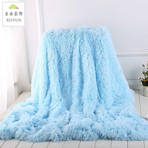 Wgreat lunga peluche coperta vellutata in pile,ultra-morbido coperta calda letto,leggero soffici doppia sided per divano & letto-azzurro 130x160cm(51x63inch)