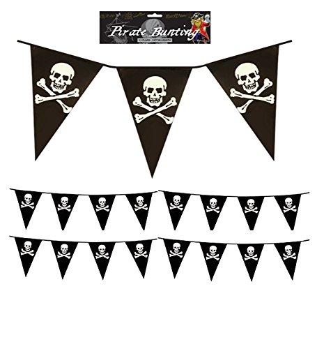 Lizzy Wimpelkette Piraten, ca. 3,7 m, PVC, Wimpel mit Totenkopf und gekreuzten Knochen, ()