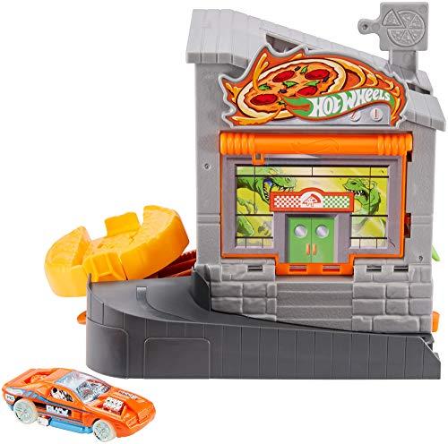 Mattel- Hot Wheels-City Dino-Ataque a la pizzería, Pistas de Coches de Juguetes niños +4 años GBF90