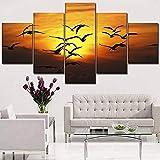 QIANG EIN Satz 5 Stücke Sonnenuntergang Landschaft Bild Wohnzimmer Wandkunst Wohnkultur Rahmen Hohe Qualität Leinwanddruck Tier Vogel Malerei