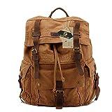 Koolertron Multi-Function Vintage Women Men Unisex Canvas Backpack Leather Trim Book Messenger Bag Shoulder Bag Schoolbag Satchel Backpack Video Portable Carry Bag Case (Brown)