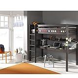 Vipack-PIOLBU15-Pino-Lit-Mezzanine-avec-Grand-Bureau-Pin-MassifMDF-Taupe-209-x-105-x-180-cm