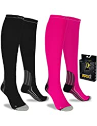 Compression Socks Graduated Anti Fatigue Men and Women Gym Running Flight Travel (L/XL (Women 5.5-13 / Men 7-13.5) PAIR, Black)