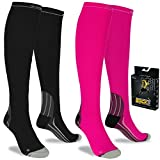 Compression Socks Graduated Anti Fatigue Men and Women Gym Running Flight Travel (S/M (Women 4-6.5 / Men 4-8) PAIR, Pink)