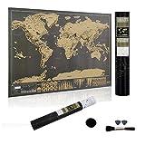 GLEADING Carte du monde à gratter, personnalisée, le poster de carte du monde d'édition de prime, le meilleur cadeau pour des voyageurs-Dimension 43x30cm