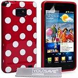 Yousave Accessories Samsung Galaxy S2 i9100 Stilvoll Punkte Silikon Gel Gemustert Schutzhülle Mit Displayschutz Film Und Graues Micro Faser Poliertuch - Rot Mit Weiß Punkte