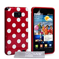 Yousave Accessories Samsung Galaxy S2 Case Red / White Silicone Gel Polka Dot Patterned Cover